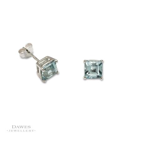 Silver 6mm Square Blue Topaz Stud Earrings