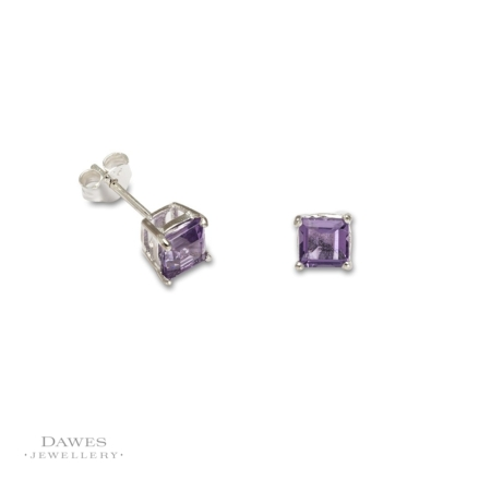 Sterling Silver Square Amethyst Stud Earrings