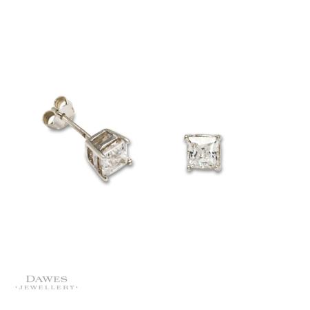 Silver Square Cut Cubic Zirconia Stud Earrings