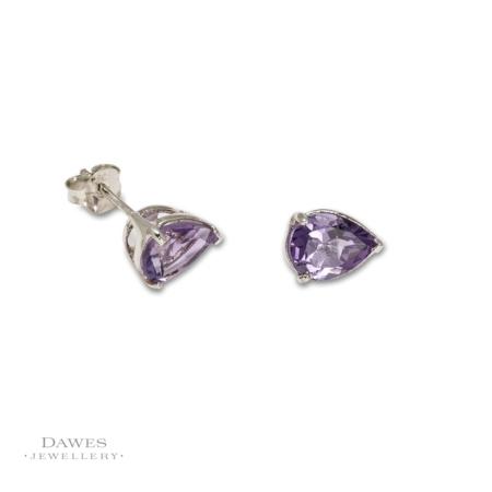 Sterling Silver Pear Shape Amethyst Stud Earrings