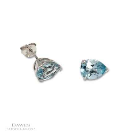 Sterling Silver Pear Shape Blue Topaz Stud Earrings.