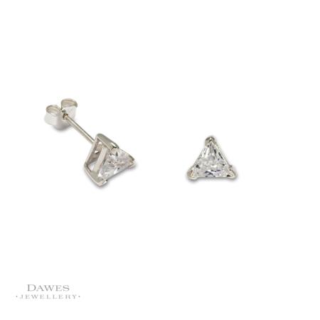 Silver Trillion Cut Cubic Zirconia Stud Earrings