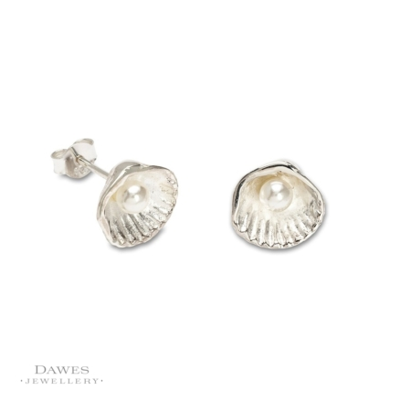 Sterling Silver Seashell & Pearl Stud Earrings
