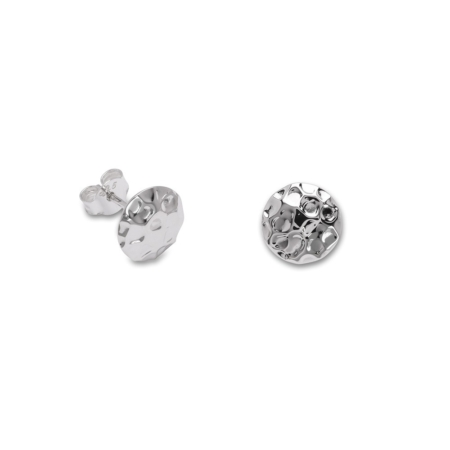 Sterling Silver Hammered Finish Stud Earrings
