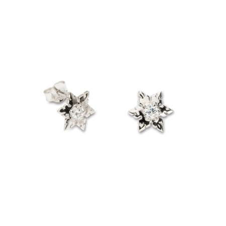 Silver Cubic Zirconia Snowflake Stud Earrings