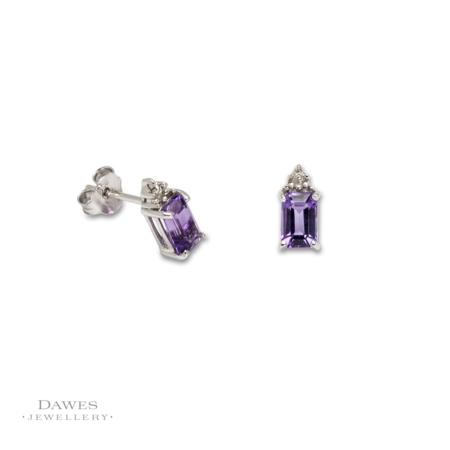 Sterling Silver Amethyst & Diamond Stud Earrings