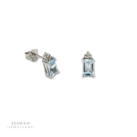 Sterling Silver Blue Topaz & Diamond Stud Earrings