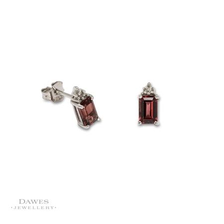 Sterling Silver Garnet & Diamond Stud Earrings