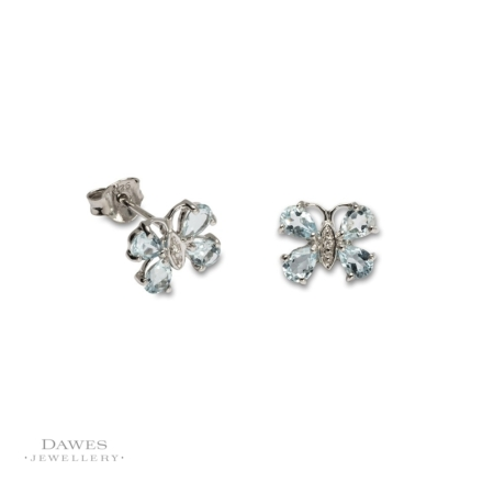 Silver Blue Topaz and Diamond Butterfly Stud Earrings