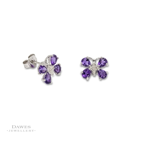 Silver Amethyst & Diamond Butterfly Stud Earrings