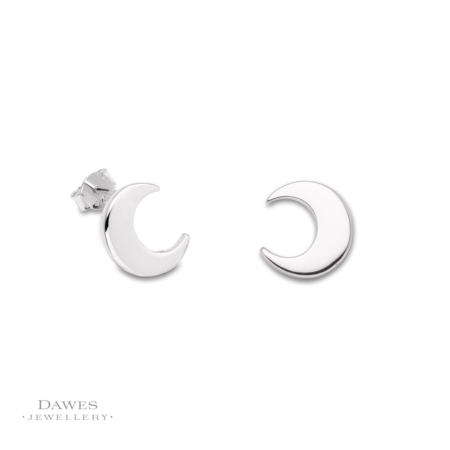Silver Crescent Moon Stud Earrings.