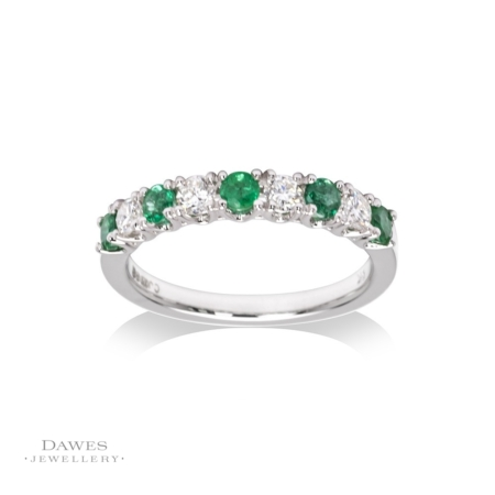 9ct White Gold Emerald and Diamond Half Eternity Ring