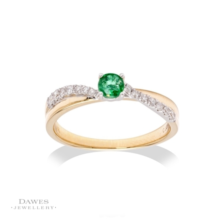 9ct Two Colour Gold Emerald & Diamond Ring