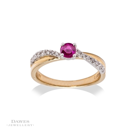 9ct Yellow & White Gold Ruby Diamond Ring