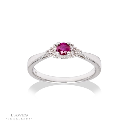 9ct White Gold Ruby & Trefoil Diamond Ring