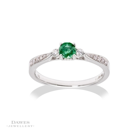 9ct White Gold Emerald & Diamond Ring