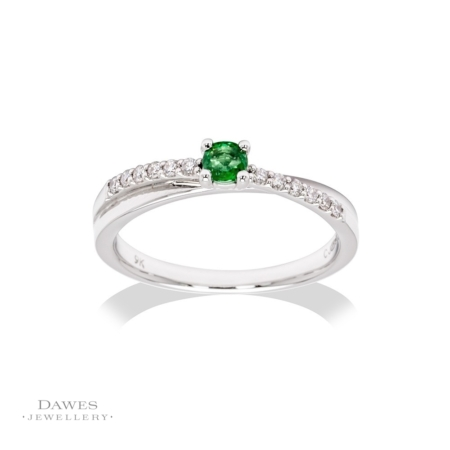 9ct White Gold Emerald & Diamond Crossover Ring