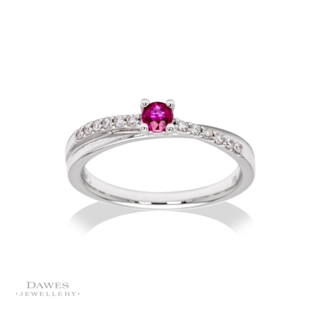 9ct White Gold Ruby & Diamond Crossover Ring
