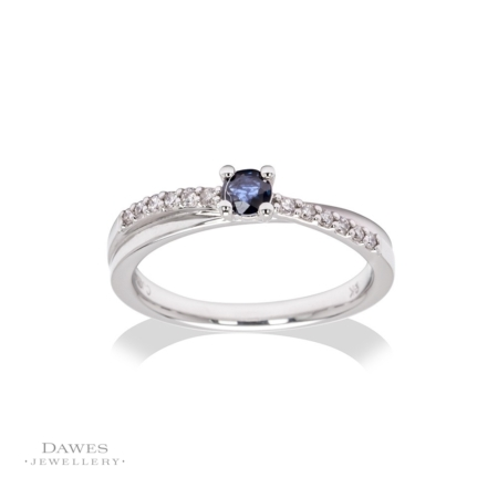 9ct White Gold Sapphire & Diamond Crossover Ring