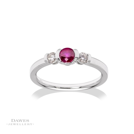 9ct White Gold Ruby & Diamond Three Stone Ring.