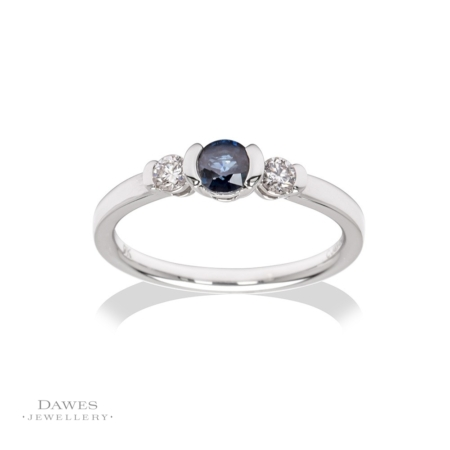 9ct White Gold Sapphire & Diamond Three Stone Ring