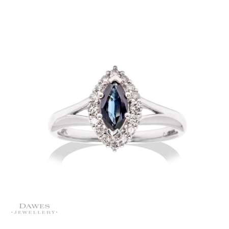 9ct White Gold Marquise Sapphire & Diamond Ring