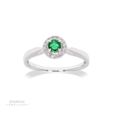 9ct White Gold Emerald & Diamond Cluster Ring