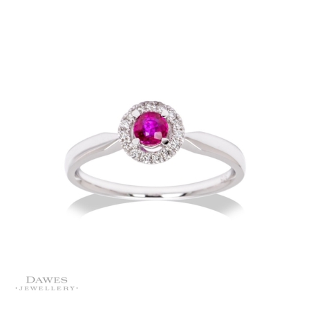 9ct White Gold Ruby & Diamond Cluster Ring