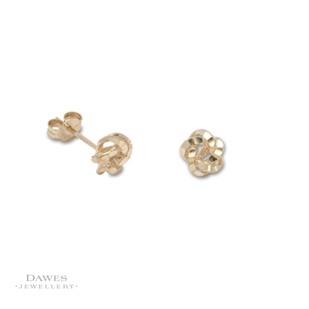 9ct Yellow Gold Diamond Cut Knot Stud Earrings