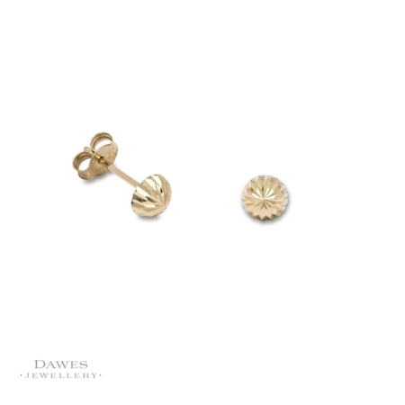 9ct Yellow Gold Diamond Cut Stud Earrings