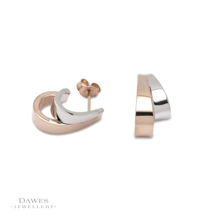 9ct Two Colour Gold Stud Earrings