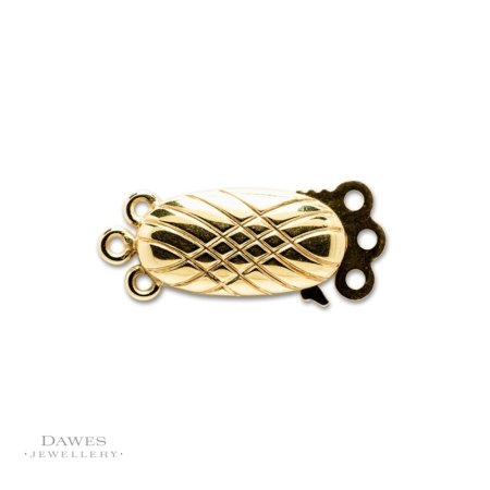 9ct Yellow Gold Oval Three Row Clasp