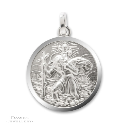 Silver St Christopher Pendant 20mm Double Sided