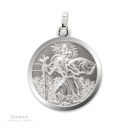 Silver St Christopher Pendant 24mm Double Sided