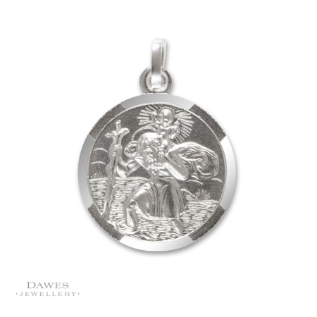 Silver St Christopher Pendant 18mm Double Sided