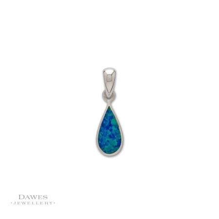 Sterling Silver Opal Teardrop Pendant