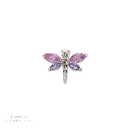 Silver Cubic Ziconia Dragonfly Pendant
