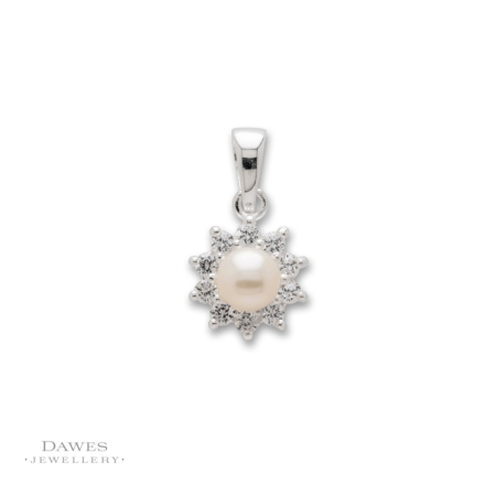 Silver Cubic Zirconia & Pearl Cluster Pendant