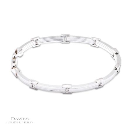 Sterling Silver Bar Link Bracelet 19cm