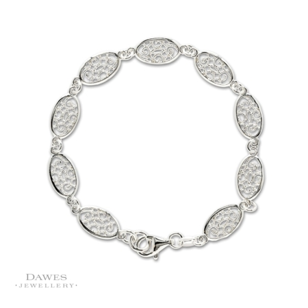 Oval Silver Patterned Link Bracelet 19cm