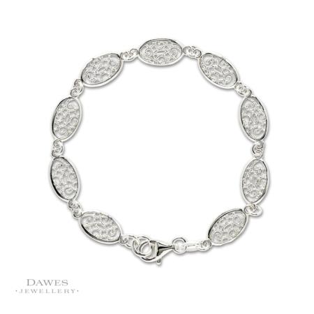 Oval Silver Patterned Link Bracelet 19cm
