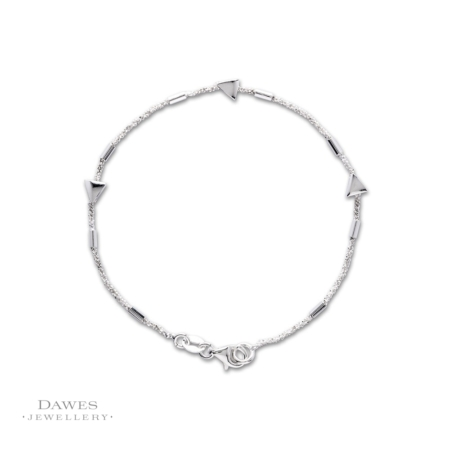 Sterling Silver Bracelet With Triangles 19cm