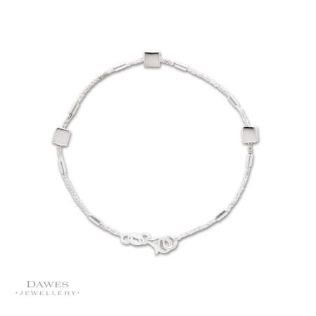 Sterling Silver Bracelet With Squares 19cm