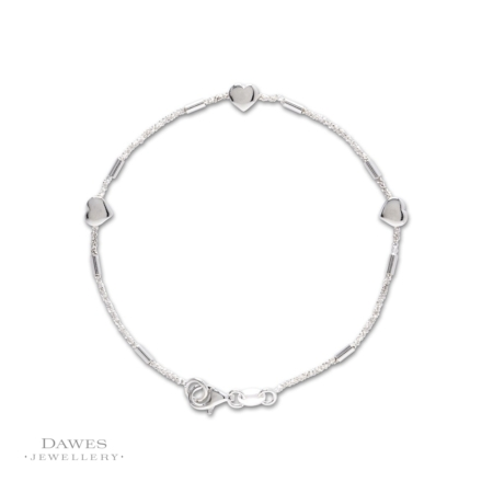 Sterling Silver Bracelet With Hearts 19cm