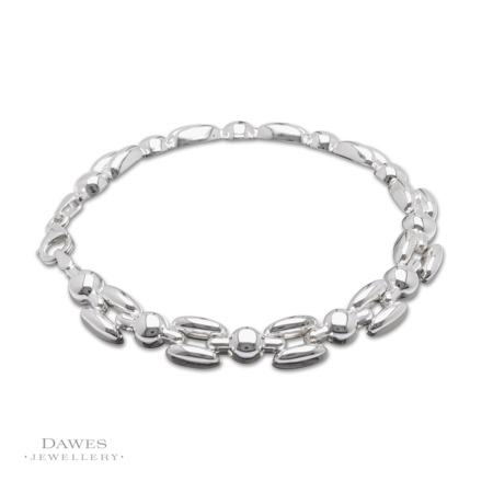 Sterling Silver Fancy Link Bracelet 19cm