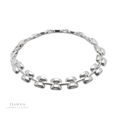 Sterling Silver Fancy Brick Link Bracelet