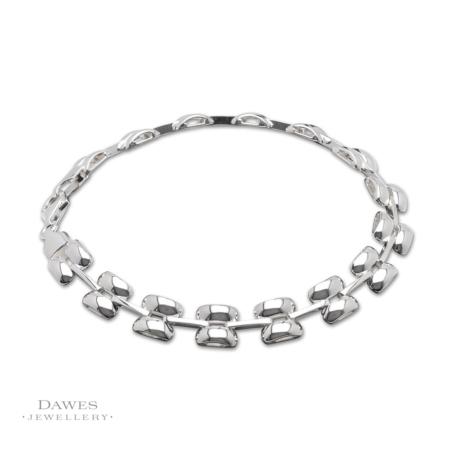 Sterling Silver Fancy Brick Link Bracelet