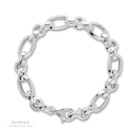 Sterling Silver Oval & Round Link Bracelet