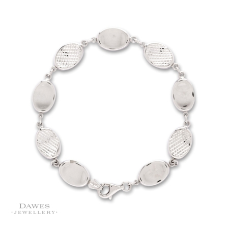 Sterling Silver Patterned Link Bracelet 19cm