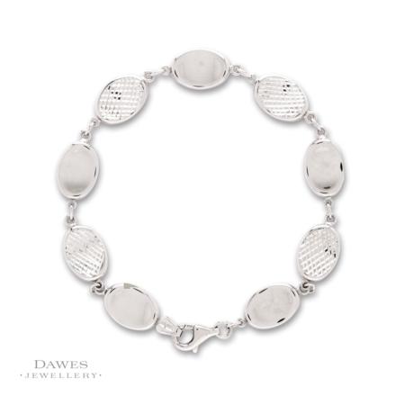 Sterling Silver Patterned Link Bracelet 19cm